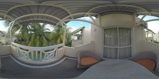 360 VR View to the guest houses among the palms, Mauritius stock video footage