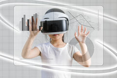 VR or Virtual Reality for Digital Information Concept Illustrate Royalty Free Stock Photo