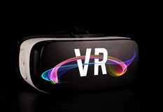 VR virtual reality glasses on black background Stock Image