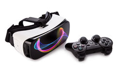 VR virtual reality glasses with gamepad. Royalty Free Stock Image