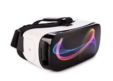 VR virtual reality glasses on white background stock photography