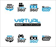 VR 360 Virtual reality icons set. VR 360 Virtual reality icons Stock Photography