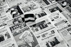 VR Virtual reality mask above major international newspapers Tru Stock Image