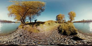 360 VR Virtual Reality of a river flows over rocks in this beautiful mountains forest stock footage
