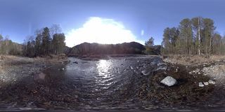 360 VR virtual reality of a wild mountains, pine forest and river flows. National park, meadow and sun rays. stock video