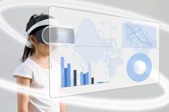 VR of Virtuele Werkelijkheid voor langs Geïllustreerde het Concept van het Wiskundeonderwijs Royalty-vrije Stock Foto