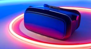 VR-virtuell verklighet rullar med ögonen mobiltelefonhörlurar med mikrofon Fotografering för Bildbyråer
