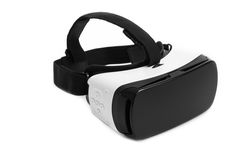 VR-virtuell verklighetexponeringsglas Virtuell verklighetskyddsglasögon som isoleras på royaltyfri bild