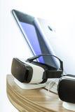 VR耳机,虚拟现实设置, VR玻璃 免版税库存图片