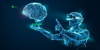 VR wireframe headset vector banner. Polygonal man wearing virtual reality glasses with holographic of brain. Science