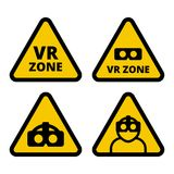 VR zone caution sign vector. Flat illustration. Set of VR signs. Yellow triangle sign virtual reality set isolated on white background. VR helmet icon, VR logo Stock Images