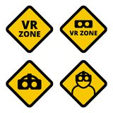 VR zone caution sign vector. Flat illustration. Set of VR caution signs. Yellow square signs virtual reality  set isolated on white background. VR helmet icon Stock Photo