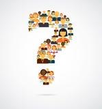 Vraag die van mensenpictogrammen wordt gemaakt Stock Foto's