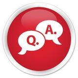 Vraag- en antwoord de premie rode ronde knoop van het bellenpictogram Royalty-vrije Stock Afbeeldingen