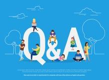 Vraag en antwoordconceptenillustratie van jongeren die zich dichtbij brieven bevinden stock illustratie