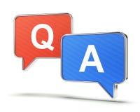 Vraag en antwoordtoespraakbellen Stock Fotografie