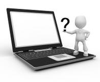 Vraag en laptop Stock Afbeeldingen