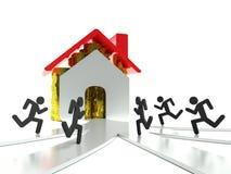Vraag naar huizen en onroerende goederen, bedrijfsmetafoor Stock Fotografie