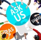 Vraag ons van de Begeleidingsideeën van de Klantendienst het Aandeelconcept Stock Foto