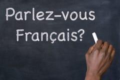 Vraag` parlez-Vous Francais? ` op een bord Stock Afbeelding