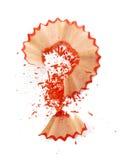 Vraag-teken dat van rode potloodspaanders wordt gemaakt Stock Foto