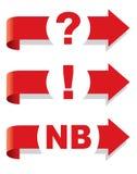 Vraag, uitroep en het symbool van Nota Bene. Royalty-vrije Stock Fotografie