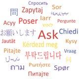 Vraag in verschillende talen. vector illustratie