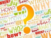 Vraagteken, de achtergrond van de woordwolk stock illustratie