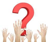 Vraagteken en handen stock afbeelding