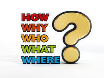 Vraagteken en woorden op witte achtergrond Stock Foto's