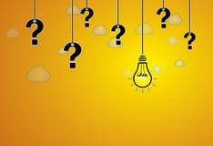 Vraagteken & heldere gele gloeilamp met ideetekst het hangen Royalty-vrije Stock Afbeelding