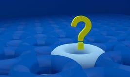 Vraagteken op blauwe achtergrond met schaduw en bezinning Stock Afbeeldingen
