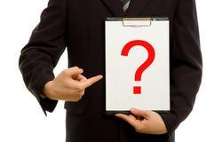 Vraagteken op klembord Stock Afbeelding
