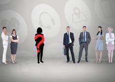 Vraagteken op silhouet met bedrijfsmensen royalty-vrije stock foto's