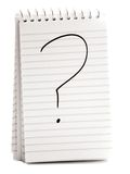 Vraagteken op Spiraalvormig Notitieboekje Stock Afbeelding