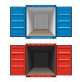 Vracht die, open ladingscontainers verschepen vector illustratie