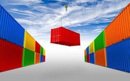 Vracht het verschepen container het hangen op kraanhaak vector illustratie