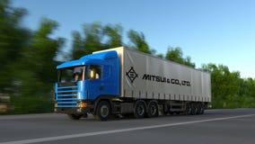 Vracht semi vrachtwagen met Mitsui en Co embleem het drijven langs bosweg Het redactie 3D teruggeven Royalty-vrije Stock Foto's