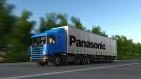 Vracht semi vrachtwagen met Panasonic-Bedrijfsembleem het drijven langs bosweg Het redactie 3D teruggeven Royalty-vrije Stock Fotografie