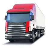 Vracht semi-vrachtwagen op witte achtergrond wordt geïsoleerd die Stock Afbeelding