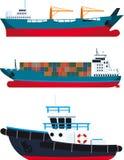 Vrachtschepen en sleepboot stock illustratie