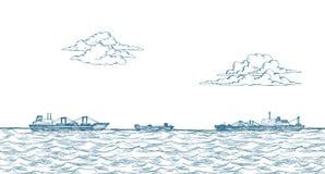 Vrachtschepen, wolken, overzees royalty-vrije illustratie