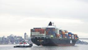 Vrachtschip APL die FLORIDA de Haven van Oakland vertrekken Stock Foto's