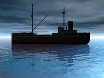 Vrachtschip bij Schemer Stock Afbeeldingen