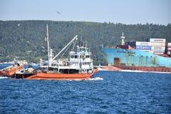 Vrachtschip Bosphorus royalty-vrije stock afbeeldingen