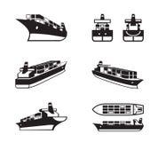 Vrachtschip in verschillend perspectief stock illustratie