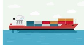 Vrachtschipcontainer in het Oceaanvervoer, Verschepende Vracht Eransportation Vector illustratie stock foto
