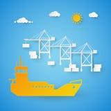 Vrachtschiplading in Verschepende Haven Havendok Besnoeiingsdocument Illustratie royalty-vrije illustratie