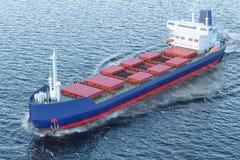 Vrachtschipschip met steenkool die in het oceaan, 3D teruggeven varen Royalty-vrije Stock Foto