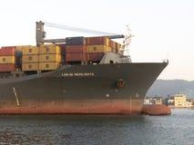 Vrachtschipzeilen door het kanaal van de haven van Santos in een mist Royalty-vrije Stock Foto's